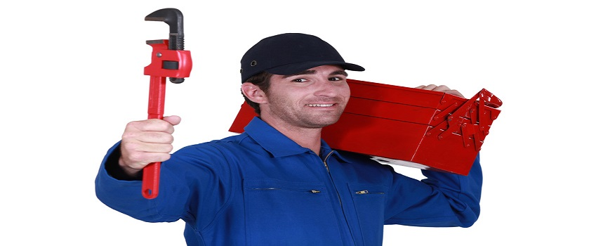 Worker with a toolbox and wrench